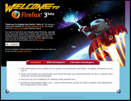 FireFox 3 Beta Homepage