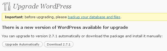 Wordpress 2.7 Upgrade Function