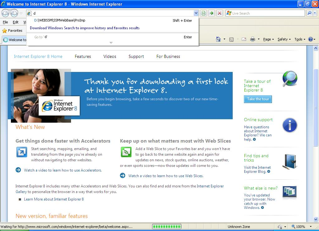 IE8 Screenshot