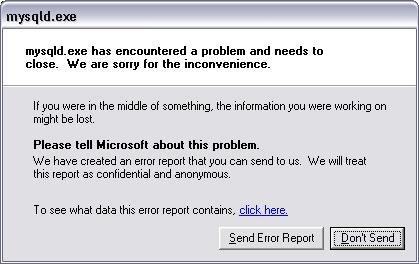 mysqld error