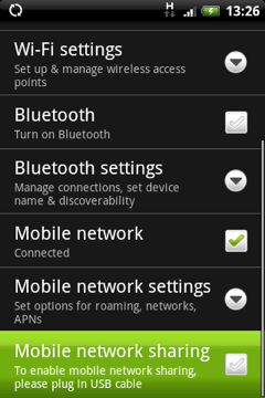 Android Modem Selection