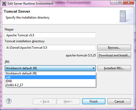 change server runtime environment eclipse