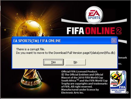 Corrupted File FIFA Online 2