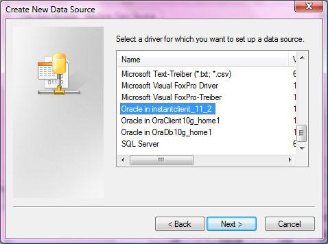 Choose Oracle Instant Client