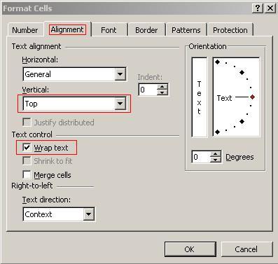 Format Cells Option