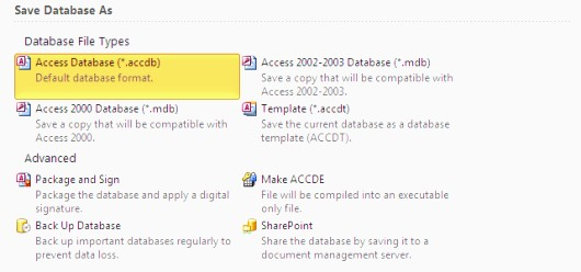 MS Access Save Types