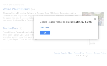 google reader end notice