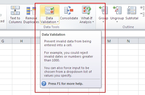 excel 2010 data validation